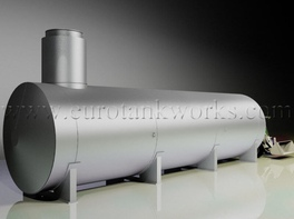 Horizontal shop-welded steel storage tank. Capacity = 60cbm