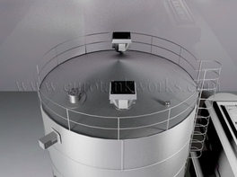 Vertical 200 m³ cylindrical steel tank