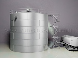 Vertical 700 m³ cylindrical steel tank